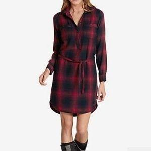 Eddie Bauer Favorite Flannel maroon Shirt Dress